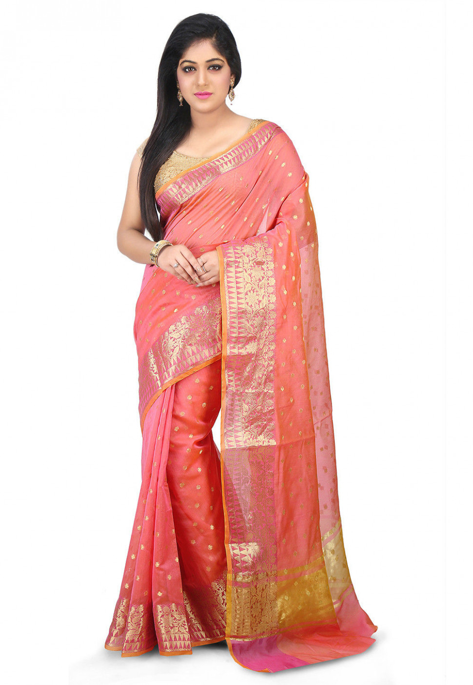 Woven Chanderi Silk Saree in Peach : SWZ85