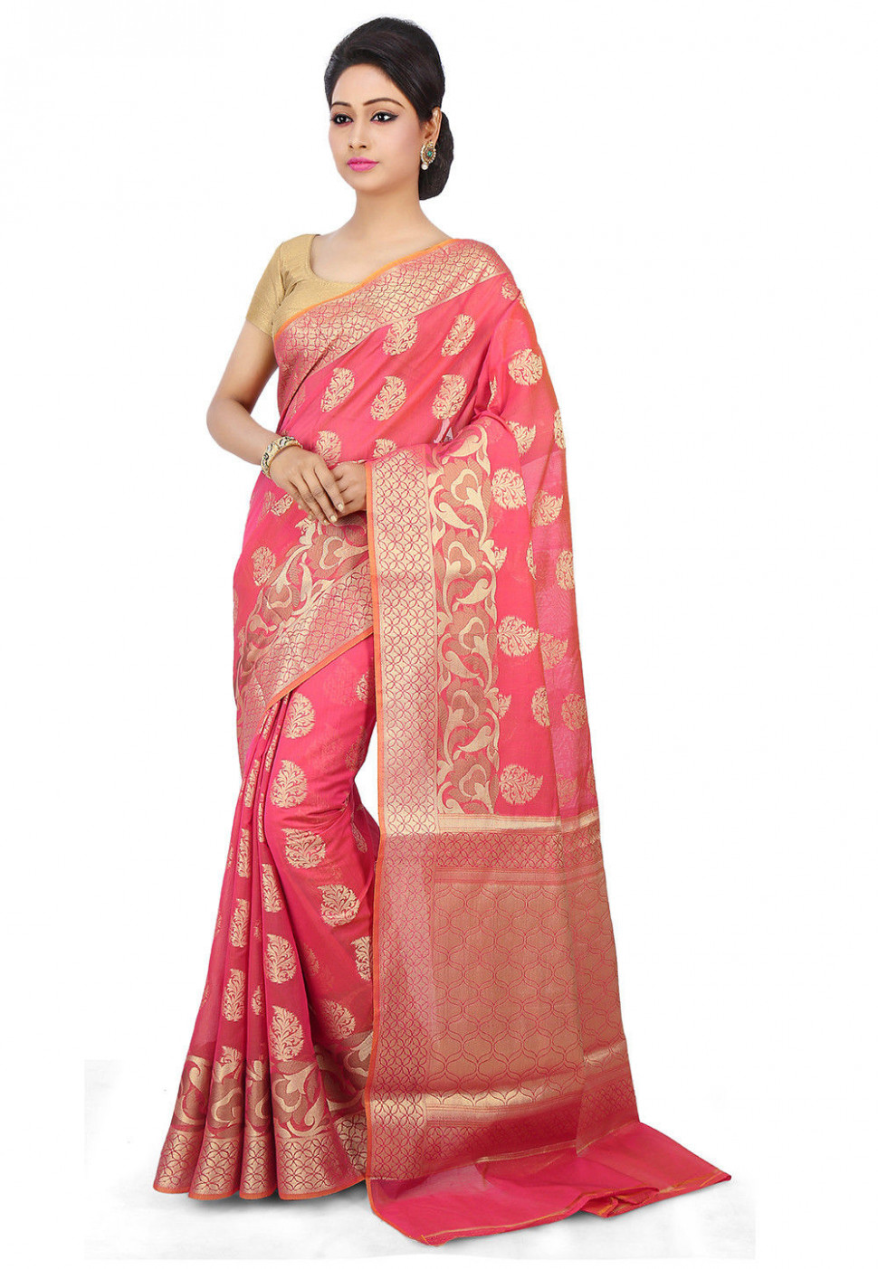 Woven Chanderi Silk Saree in Pink : SWZ52