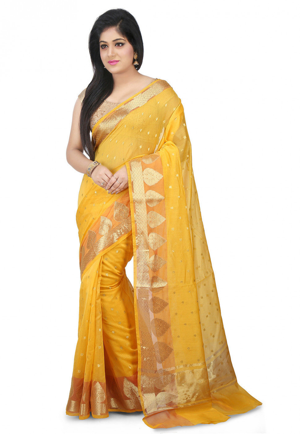Woven Chanderi Silk Saree in Yellow : SWZ91