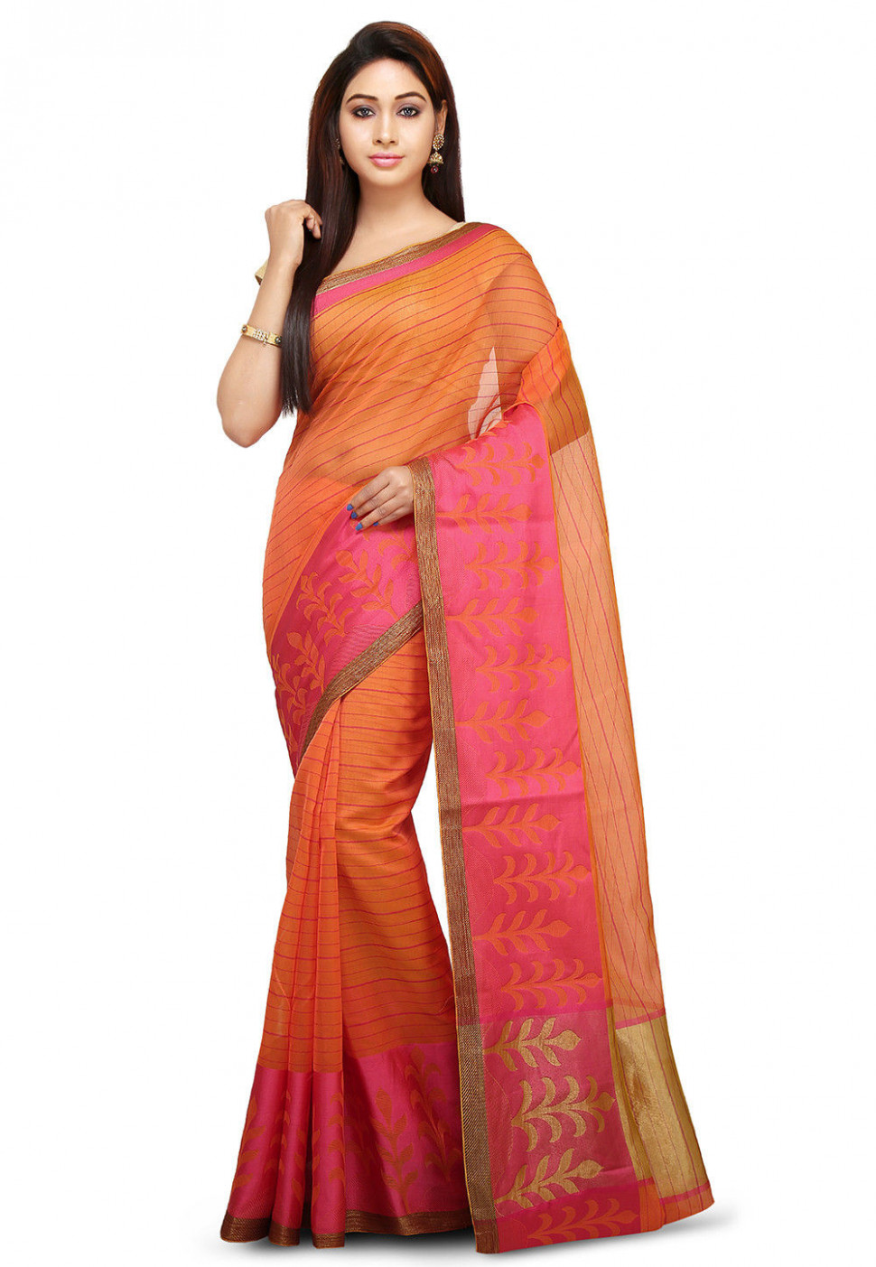 Woven Cotton Silk Saree in Orange : SWZ331