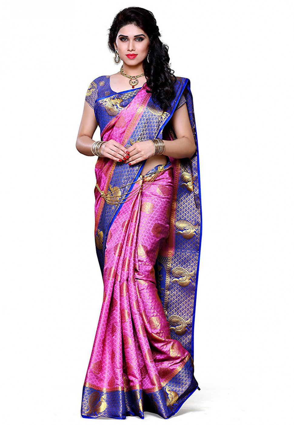 Woven Kanchipuram Silk Saree in Pink : SEH1440