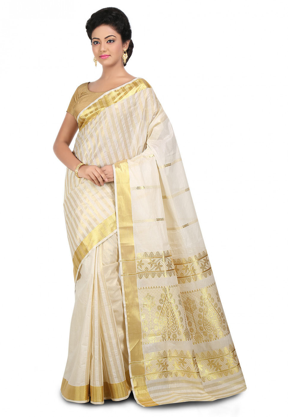 Woven Kerala Kasavu Cotton Saree in Off White : SPN2703