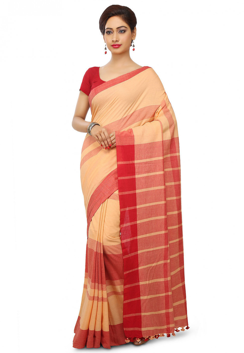 Woven Khadi Cotton Saree in Peach and Red : SHXA153