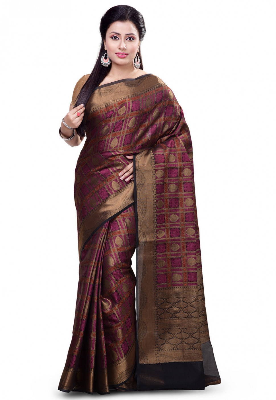 Woven Organza Silk Saree in Black and Fuchsia : SFKA1612