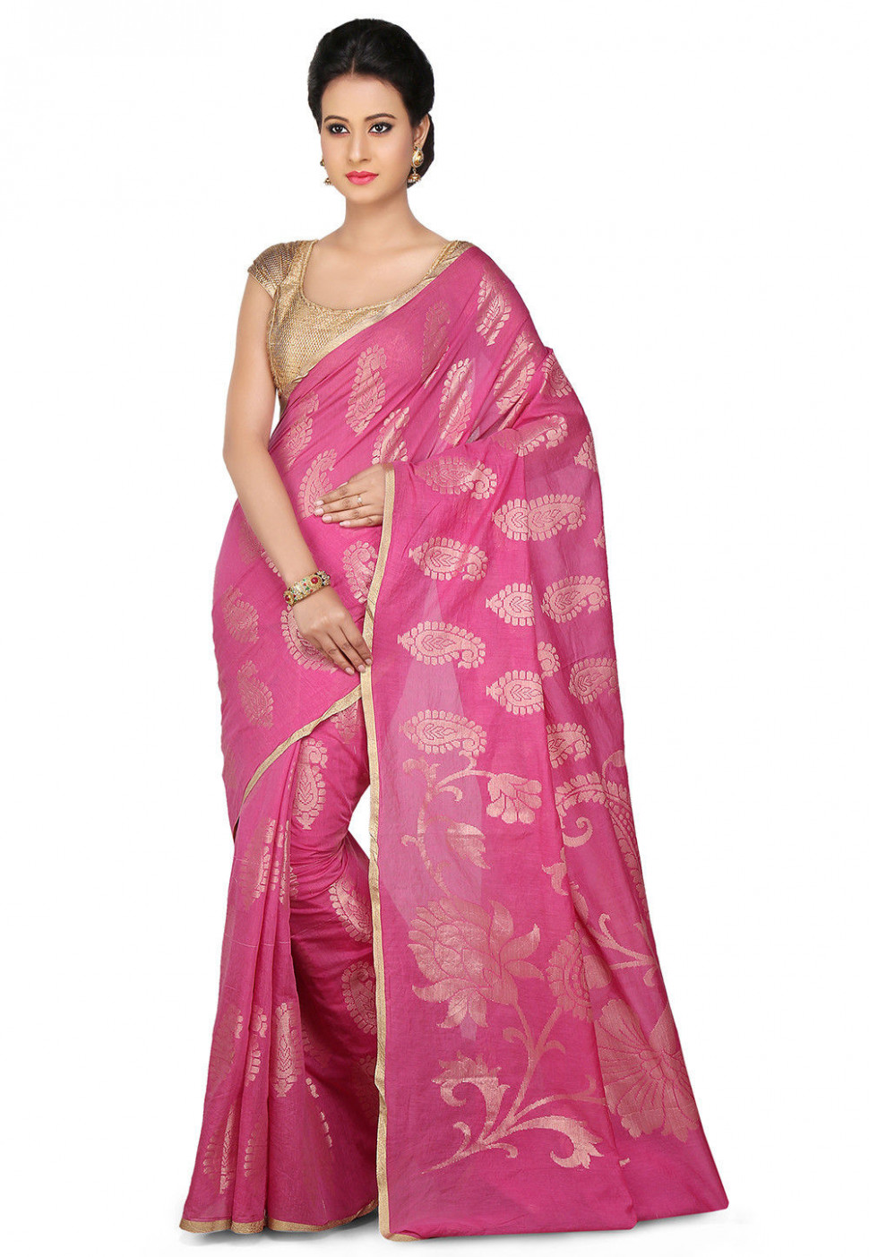 Woven Pure Chanderi Cotton Silk Saree in Pink : SNEA532