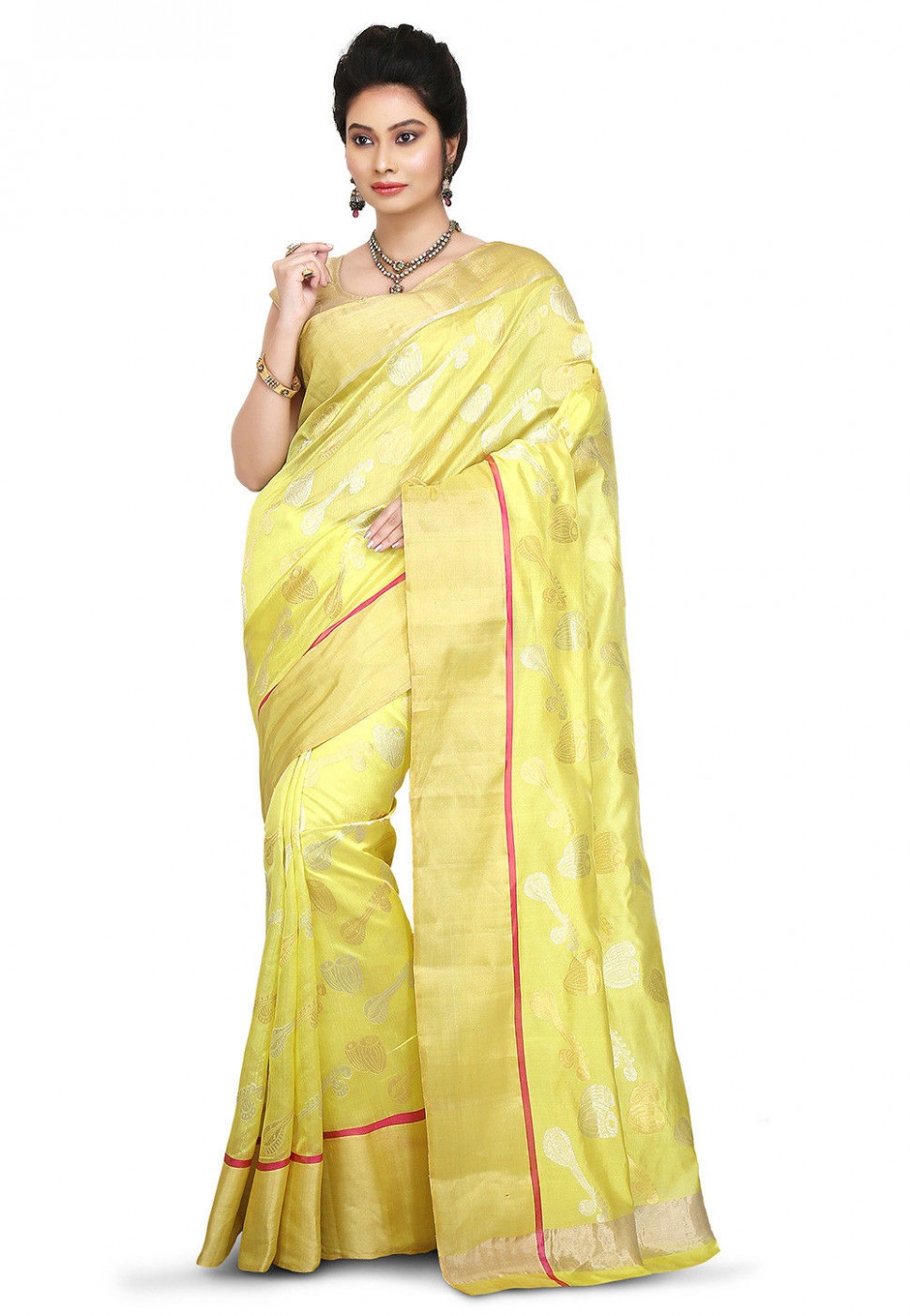 Woven Pure Chanderi Silk Saree in Light Yellow : SKBA284 - chanderi silk saree