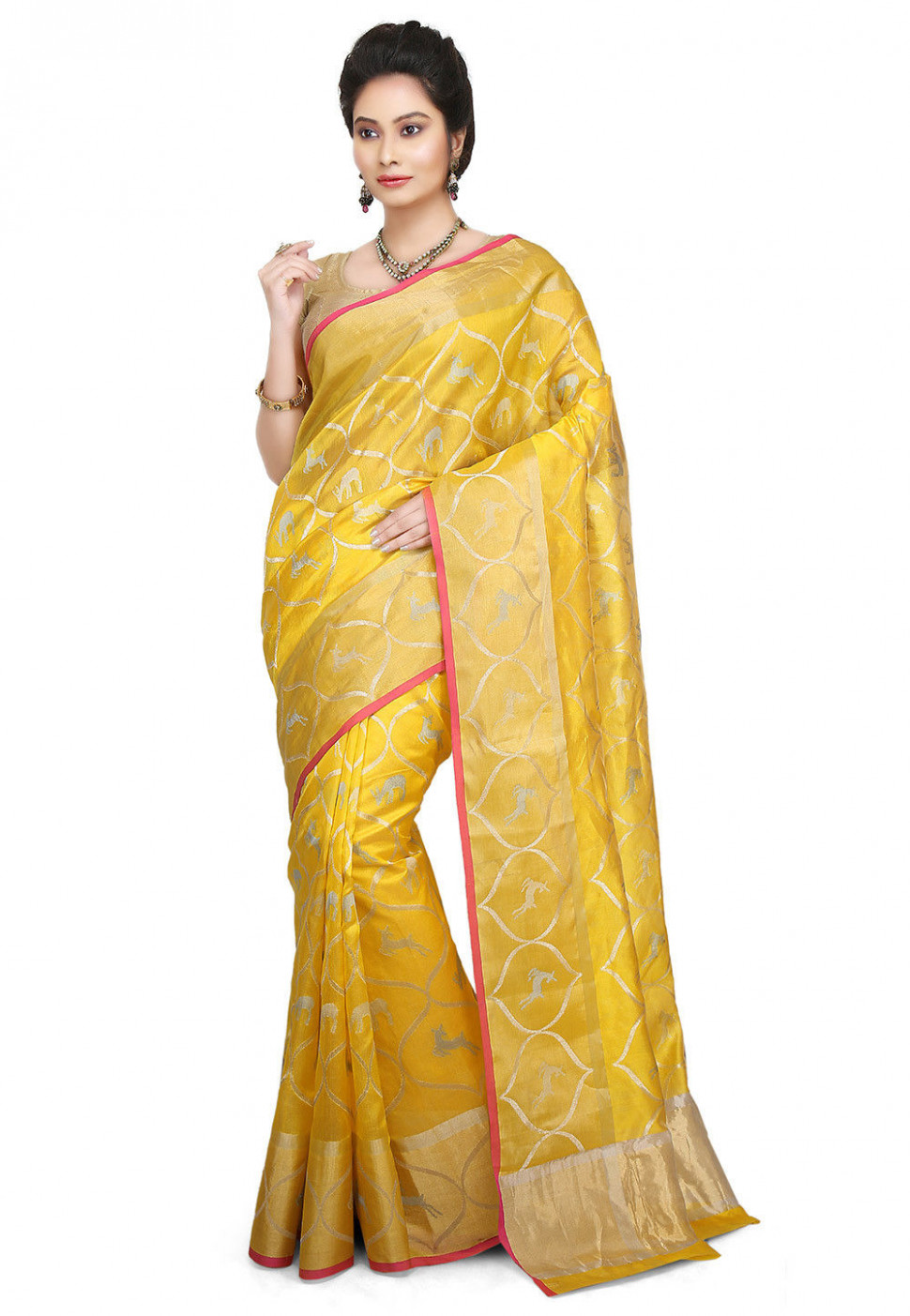 Woven Pure Chanderi Silk Saree in Yellow : SKBA287