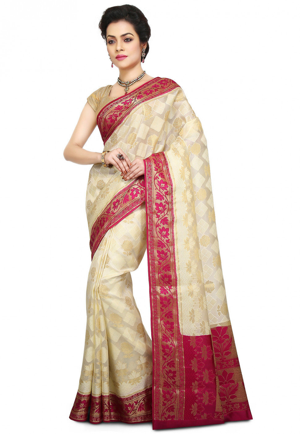 Woven Pure Silk Saree in Cream : SNEA1298