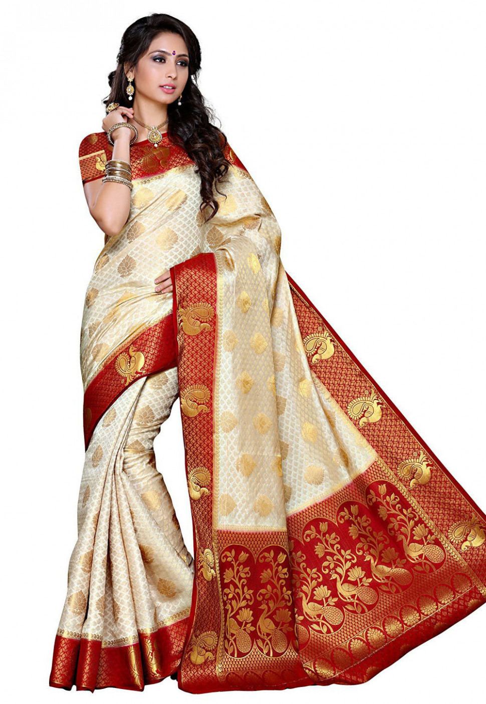 Woven Tussar Silk Saree in White : SEH1410