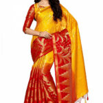 Yellow & Red Kanjivaram Silk Saree With Blouse 1576SR28