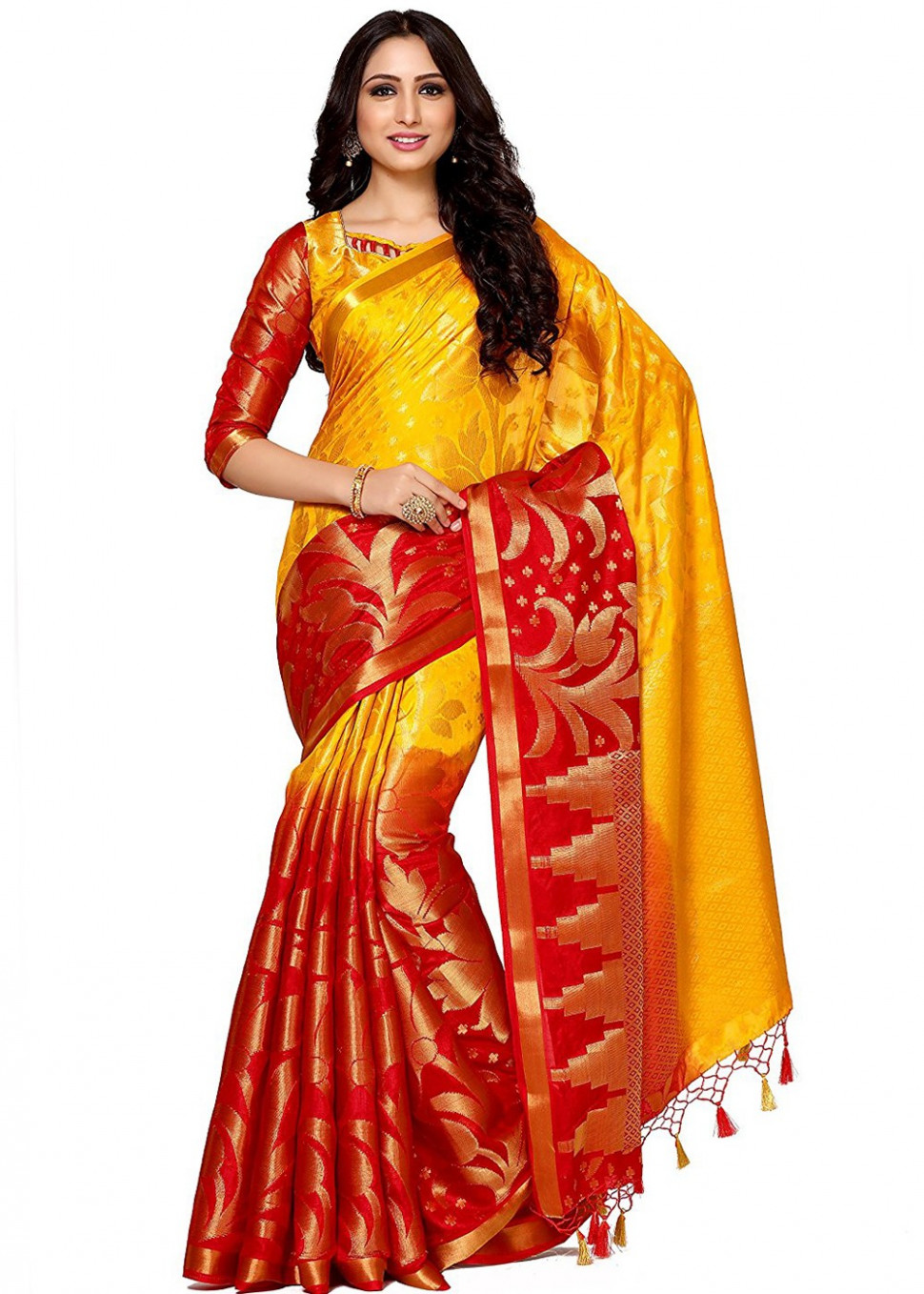 Yellow & Red Kanjivaram Silk Saree With Blouse 1576SR28 - kanjivaram saree