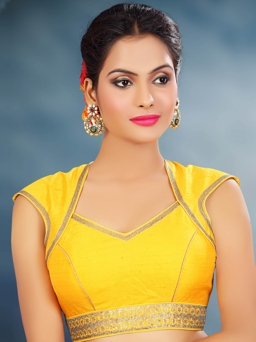 Yellow raw silk designer readymade saree blouse - G3
