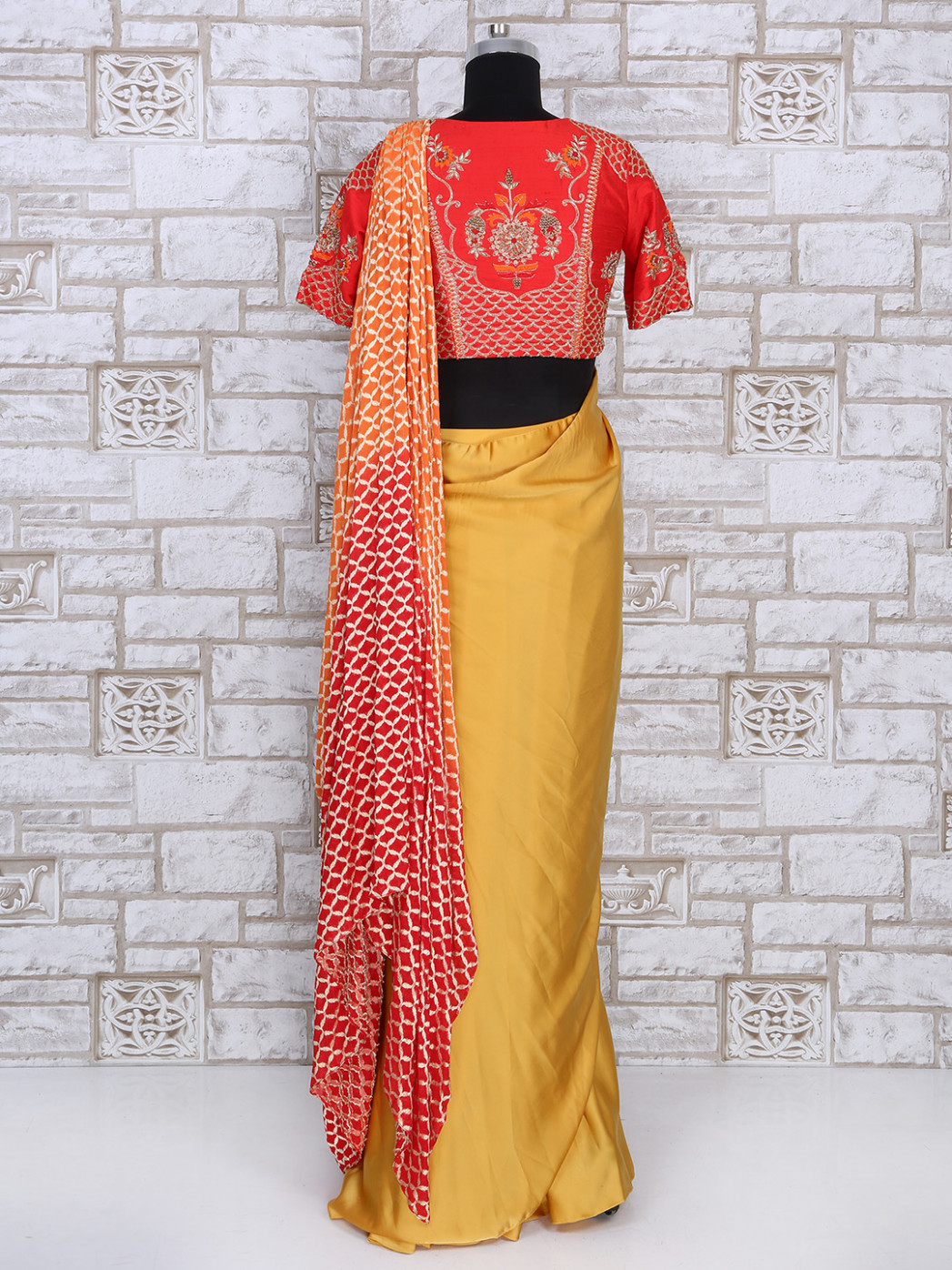 Yellow satin designer ready to wear saree - G3-WSA27134