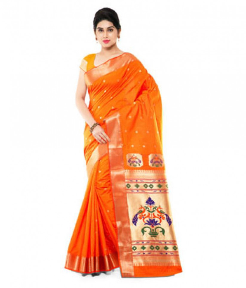 Yeola Paithani Orange Silk Saree - Buy Yeola Paithani
