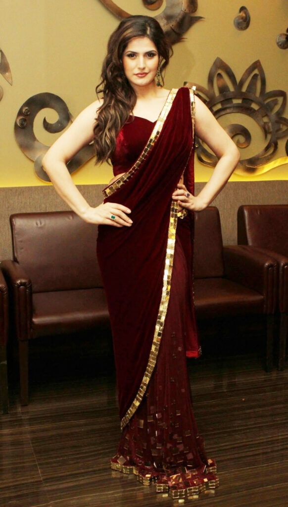zareen khan velvet bollywood saree-Online Shopping-