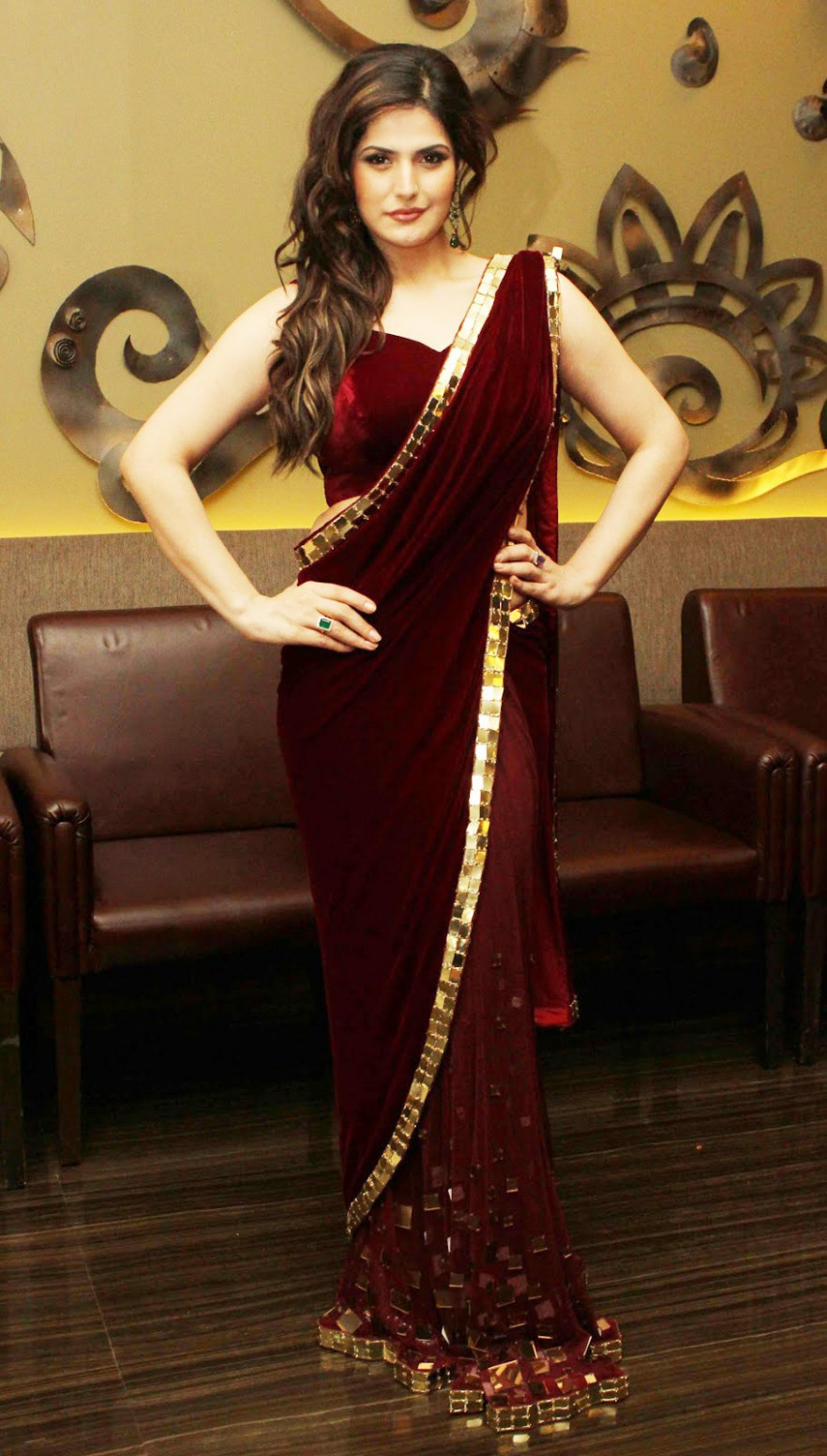 zareen khan velvet bollywood saree-Online Shopping- - bollywood saree