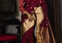 Art Silk Kanjivaram Saree in Maroon and Gold | Kanchipuram ..