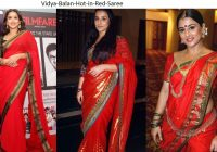 Beautiful India Bollywood Actress Looking Hot in Red Saree ..