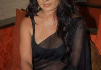 Bollywood Actress Celina Jaitley Black Transparent Saree ..
