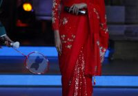 Bollywood Actress Deepika Padukone In Red Saree ..