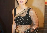 Bollywood Actress Kajol Hot Navel in Black Transparent ..