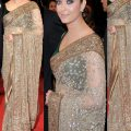 Bollywood Style Aishwarya Rai Net Saree In Beige and Gold ..