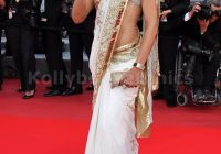 Bollywood Style Deepika padukone white and golden border ..