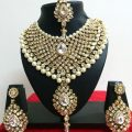 Indian Bollywood Diamante Kundan Pearl Gold Tone Bridal ..
