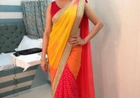 Madhuri Dixit in Yellow red saree – Panache Haute Couture ..