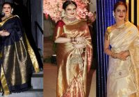 New Bollywood Actress Rekha Kanjeevaram Saree Designs ..