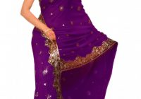Purple Bollywood Sequin Saree Sari Belly dance Drape ..