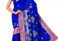 Royal Blue Bollywood Sequin Saree Sari Bellydance Drape ..