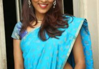 Slim Tollywood Heroine Gayatri Pics in Blue Saree – 10 Pics – tollywood heroines in sarees