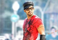 South Indian stylish hero Allu Arjun in red t shirt high ..