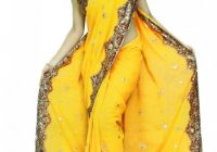 Yellow Bollywood Sequin Saree Sari Belly dance Fabric ..